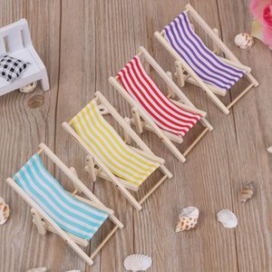 Decorative Objects & Figurines 1PC Wooden Lounge Chair For 1 12 Dollhouse Miniature Furniture Folding Stripe Beach Model Mini Home Desktop D
