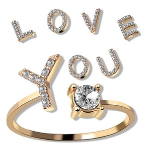 Adjustable Jewelry A-Z 26 Letter Rings For Women Lovers Silver Color Rhinestone Name Ring Female Initial Fashion Diamond Rings gift 458 Q2