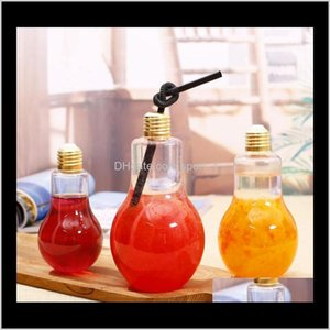 Wine Glasses Led Bulb Water Bottle Plastic Lamp Milk Juice Disposable Leakproof Cup With Lid Bar Cups Ooa70486 R1Ueh Otm6U