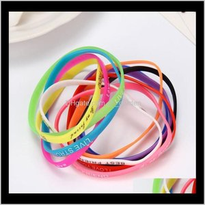 Jelly Glow Bracelets Jewelry Drop Delivery 2021 Fashion Luminous Jelly Sile Sports English Letters Wristband Bracelet Mixed Style Hand Rings