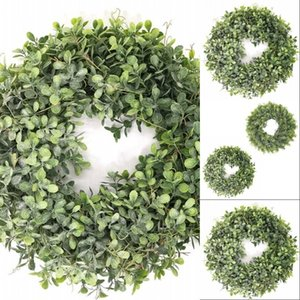 Artificial Green Leaves Wreath - 17.5 Inch Front Door Wreath Shell Grass Boxwood For Wall Window Party Decor 533 V2
