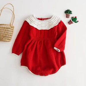 Christmas Baby Girls Red Rompers Infant Born Year Costumes Long Sleeve Knitted Jumpsuit Warm Xmas Clothes 0-24M