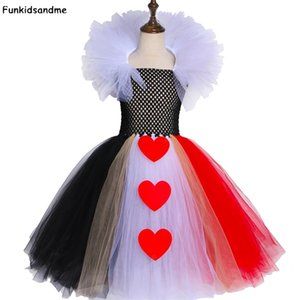 Noir et Red Queen of Hearts Tutu Alice Carnival Halloween Cosplay Cosplay Costume pour filles Enfants Anniversaire Dress Fête 2-12 Année 210317