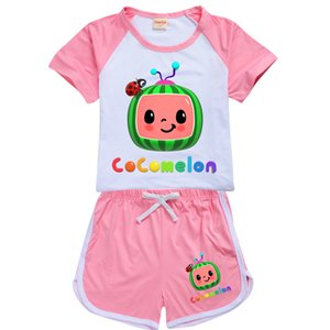 Cocomelon Cartoon Printed Kids Summer Tracksuit Short Sleeve +SHorts Two-piece Suit Clothing Candy Colors Sports Outfits Clothes G496FSR