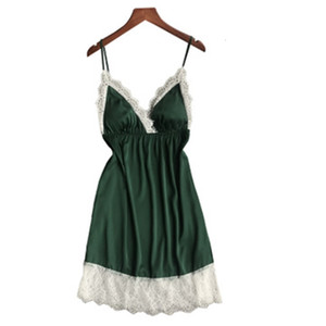 Daeyard Sexy Nightdress Silk V-neck Lace Sleepwear Lingerie Babydoll Nightgown Mini Sleeveless Women Sleepshirt With Chest Pads