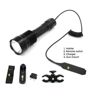 1-Mode AMC7135 Hunting Flash Light Torch C12 Cree XP-L V5 LED +Remote Switch Holster Charger Gun Mount Flashlights Torches