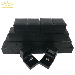 High Quality Black Leatherette Ring Box Jewelry Display Ring Package Packaging Gift Boxes Case 4.5*5*3.8cm