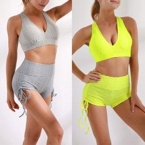 Mujeres Casual Ropa de dos piezas Set Sólido Color Sports Ropa interior y pantalones cortos de cintura alta amarillo Traje de yoga gris amarillo