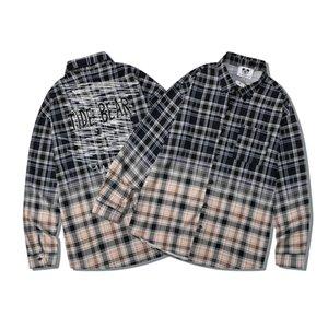 2021 Autumn Gradient Colorful Graffiti Pattern Shirt Europe America Men Women Long Sleeve casual Hip Hop cotton Streetwear