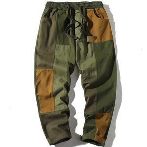 Мужские брюки Осень Harajuku Jogger Досуг Брюки Мужчины Хип-хоп Уличная одежда Cargo Мужская Лоскутная Хлопок Повседневная YTMS TJE0