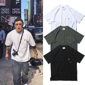 Wtaps estilo militar algodão simples bolso de mangas curtas mais tamanho solto camiseta homens