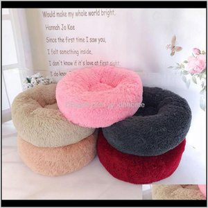 Beds Furniture Round Long Fur Kennel Bed Mat Colorful Plush Pet Cat Kitten Sleep Sofa Winter Keep Warm Christmas Gift Supplies Xqomw Lp0Yb