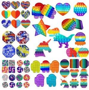 US us oved Rainbow push Pop It Fidge Toy Party Party Sensory Bubble Autism Autism Специальное нуждается в беспокойстве Стресс для офисных работников Fluorescen