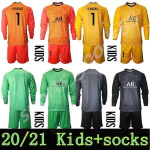 20 21 청소년 Germain 긴 소매 축구 골키퍼 2021 Keylor Navas Jersey Sergio Rico Douchez Alphonse Areola Goalie Kids Football Shirt Kits