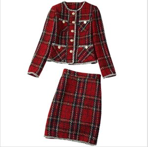 819 XXL 2021 Brand Same Style Autumn Flora Print Tweed Crew Neck Coat Short Skirt Red Plaid Womens Clothes Empire Fashion Casual Prom Dresses lanyi