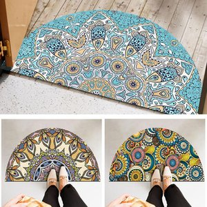 Bathroom Rugs Entrance Doormat Anti Slip Floor Mat Boho Style Bedroom Carpet Half Round Enthnic Strong Water Absorbent Bath Mats Carpets