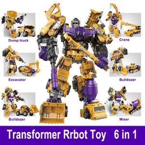 Transformation Robot Toy 6 in 1 Engineering Vehicle Model Educational Assembling Deformation Action Figure Car Toy for Children