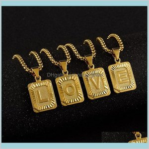 Hoop Hie Earrings Initial Pendant Name Necklack Yellow Gold Letter J K Necklace For Women Men Friend Jewelry Gifts Drop Delivery 2021