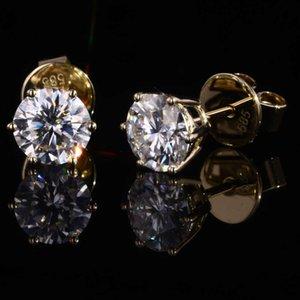 starsgem DE vvs 6.5mm 1carat moissanite 14K yellow gold push back moissanite earrings