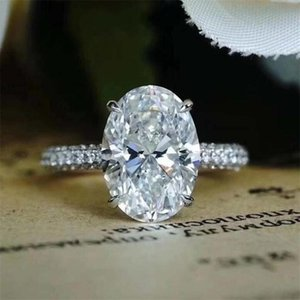 Cluster Rings 2021 Top Sell Luxury Jewelry Dove Egg Large Diamond Ring Real 925 Sterling Silver Oval Cut White Topaz Wedding Band Gift