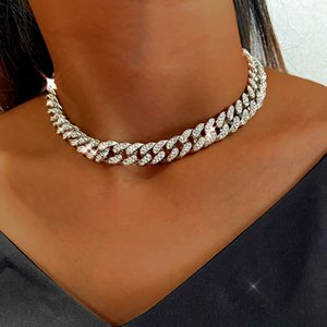 BYNOUCK Miami Cuban Link Chain Gold Silver Color Choker Necklace Female Iced Out Bling Rhinestone Necklace HipHop Jewelry X0509