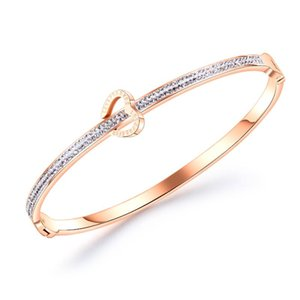 Fashion Classic Women's Bangles For Women Gold Rose Color Love Shape Rhinestone Bracelet Cuff Simple Trendy Jewelry Bangle