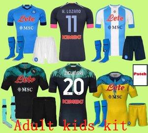 Kit Kit para adultos 19 20 21 Napoli Soccer Jersey Hogar 2020 2021 Nápoles Zielinski Hamsik Insigne Mertens Callejon Player ROG FOTBALTS SHIRTS