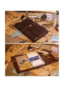 Notepads Premium Spiral Cuaderno Cuaderno Classic Binder Vintage Viajeros en relieve Diario con papel en blanco y colgantes retro al por mayor