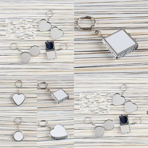 Heat Transfer Key Chain Double Sided Sublimation Blanks Love Heart Circular Square Metal Ring Mirrors Buckle Printing Photo HWE6746