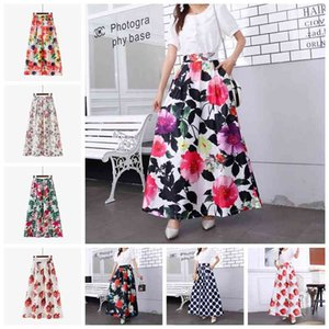 Explosive casual retro Korean version trend fashion printing high waist pocket large temperament skirt, support mixed batch