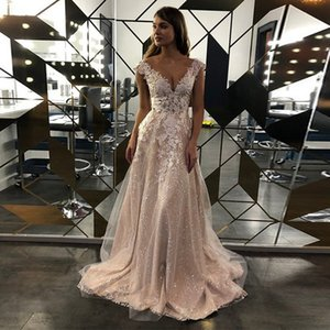 Glitter 2021 Boho Bridal Gowns Lace Appliques Shiny Beach A-Line Wedding Dresses Sheer Scoop Plus Size Mariage Gowns