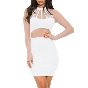 Повседневные платья сексуальные женщины тонкие круглые шеи платье с длинным рукавом чистая пряжа строчки полые кружевные перспективы марля bodycon