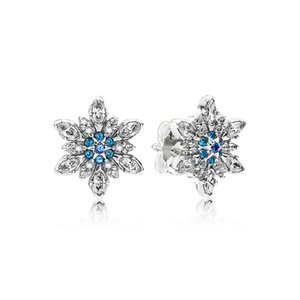 Authentic 925 Sterling Silver Blue snowflakes Signature with Crystal for Pandora Jewelry Stud Earring Women's Earrings