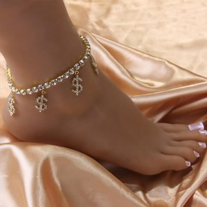 2021 trend fashion coin symbol anklet stainless steel creative lady wild sexy shiny zircon gift