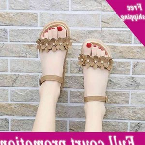 women 2021 spring and summer new women's flat heel thick bottom flower button open toe Sandals casual Roman shoes