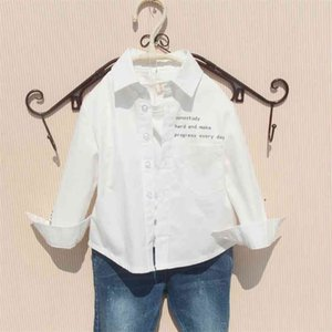 Autumn Boys Shirts Cotton White Long Sleeve Tops for Big Kds Teenage Clothes Black Color Spring Korean Baby Clothing 210622