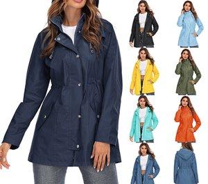 Womens Jacken mit Kapuze wasserdicht winddicht Reißverschluss Raincoat Frauen Frühling Vintage beiläufige übergroße dünne lange Mantel weibliche Kleidung