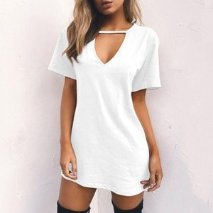 Womens Short Sleeve Sexy Triangle Hollow Halter T-Shirt Dress Solid Color Deep V-Neck Mini Long Tunic Tops Loose Pullover Blouse Casual Dres