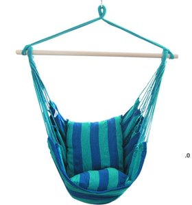 Hanging Hammock Portable Travel Camping Home Bedroom Canvas Lazy Swing Chair Garden Indoor Hammocks Swings Seat Chairs Ocean BWE6498