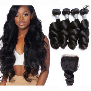 12A Vague de qualité Vierge Brésilienne Vierge Vierge Virgin Hair Extensions 4PCS avec une fermeture de dentelle 4x4inch Fermeture de la dentelle Malaisienne Péruvien Indian Hair Weave avec fermeture