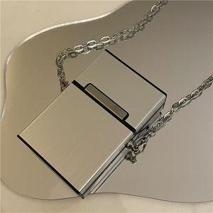 Waist Bags Mini Messenger Small Square Bag Card Women's Versatile Metal Cigarette Case Silver Chain Accessories
