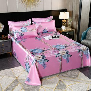 Sheets & Sets Simple Collapsible Ice Silk Mat Summer Home Bedroom Dormitory Bedding 3pcs Set 1bed Sheet+2case King Queen Size J8653