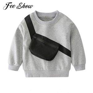 Hoodies & Sweatshirts Kids Boys Stylish Solid Sweatshirt Sports Clothes Long Sleeves Sportswear Small Messenger Bag For Outdoor Casual Wear