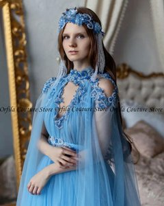Blue Fairy Prom Dress Long Sleeves Tulle Beads 2021 Russia Style vestidos Evening Gowns Formales Abendkleider