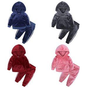 Детская одежда для мальчиков девочек золотой бархатный костюм весна осень плюс детский ребенок теплый свитер брюки два комплекта 0-7years 011001
