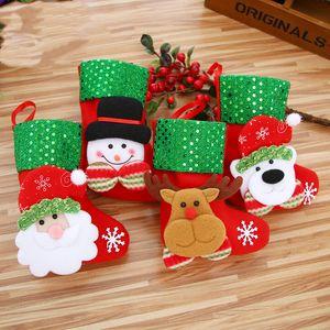 Mini Christmas Hanging Socks Cute Candy Gift bag snowman santa claus deer bear Stocking for ChristmasTree Decor Pendant WLL711