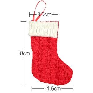 Christmas Stocking knitted red white Stockings Fluffy Santa Socks Snowflake Christmas Tree Decoration Festival Gift Bag GWD9980