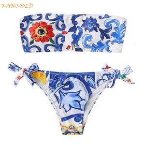 Abiti Sexy Strapless Sunflower Stampa Due Kancoold Piece Suits Costumi da bagno Donna Girls Off Spalla Push Up