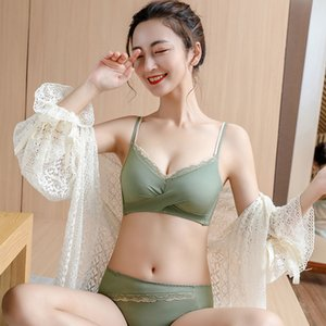 Autumn winter Japanese and Korean style gathered girls bra breathable underwear without steel ring