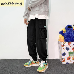 Men's Pants Men Side Pockets Cargo Harem Ribbons Hip Hop Casual Male Joggers Trousers Fashion Streetwear Sweatpants 395